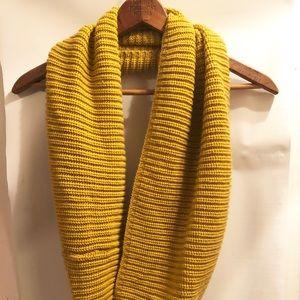 Mustard yellow chunky knit infinity scarf